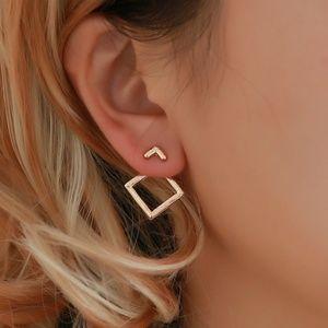 Madewell Minimal Gold Square Modern Earrings - NIP